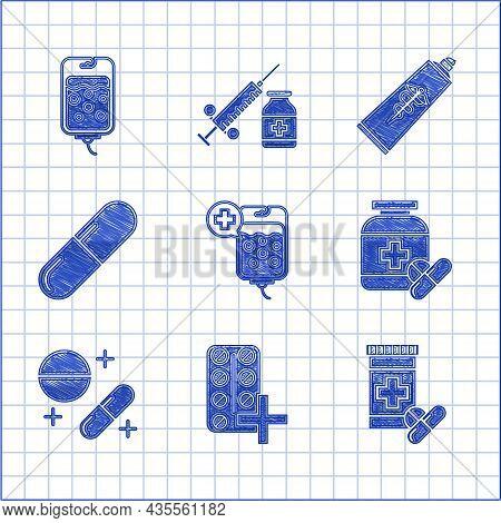 Set Iv Bag, Pills In Blister Pack, Medicine Bottle And Pills, Or Tablet, Ointment Cream Tube Medicin
