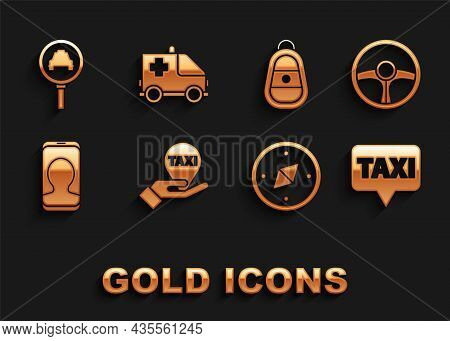 Set Hand On Map Pointer With Taxi, Steering Wheel, Map, Compass, Taxi Call Telephone Service, Car Ke