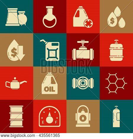 Set Industrial Gas Cylinder Tank, Propane, Antifreeze Canister, Canister Gasoline, Drop Crude Oil Pr