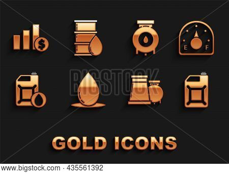 Set Oil Drop, Motor Gas Gauge, Canister For Gasoline, And Industrial Factory Building, Motor Machine