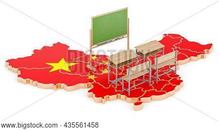 Education In China, Concept. School Desks And Blackboard On China Map. 3d Rendering Isolated On Whit