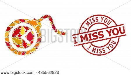 Time Bomb Collage Icon Designed For Fall Season, And I Miss You Grunge Stamp Seal. Vector Time Bomb