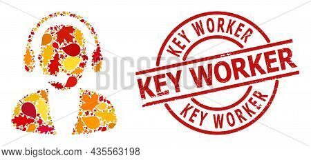 Online Operator Collage Icon Organized For Fall Seasonwith Key Worker Dirty Stamp. Vector Online Ope