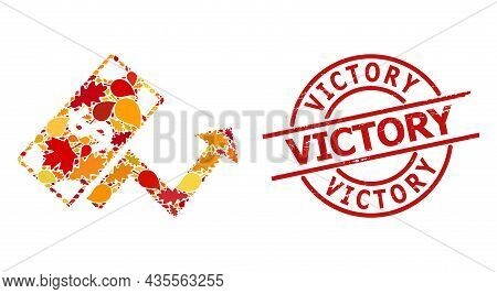Dollar Growth Trend Mosaic Icon Created For Fall Season, And Victory Corroded Stamp Seal. Vector Dol