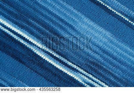 Gradient Indigo Blue Striped Alpaca Knitted Wool Fabric In Diagonal Patterns