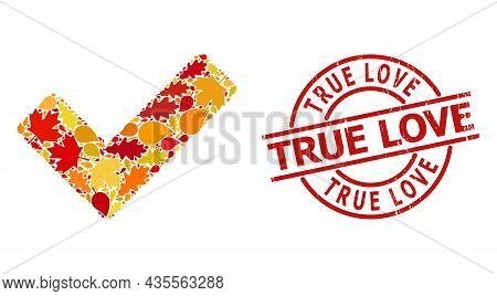 True Collage Icon Combined For Fall Season, And True Love Dirty Stamp Seal. Vector True Mosaic Is Co