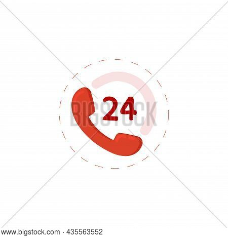 Call Center Clipart On White Background. Call Center Flat Icon.