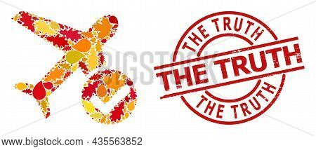 Accept Airplane Mosaic Icon Designed For Fall Season, And The Truth Rubber Stamp. Vector Accept Airp
