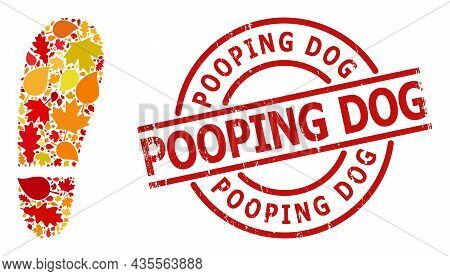 Human Foot Print Mosaic Icon Combined For Fall Season, And Pooping Dog Textured Stamp Seal. Vector H