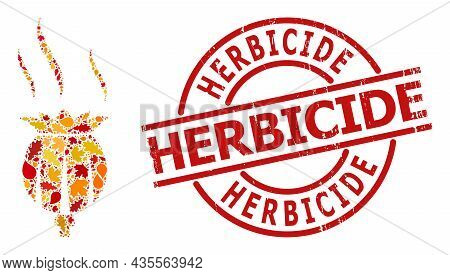 Opium Aroma Collage Icon Organized For Fall Seasonwith Herbicide Corroded Stamp Seal. Vector Opium A