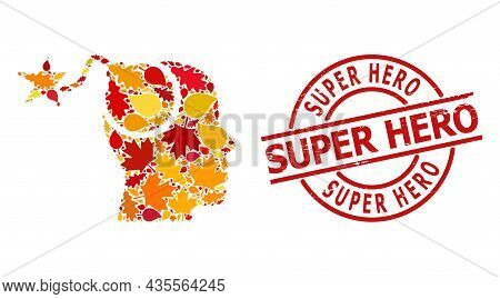 Bomb Idea Collage Icon Done For Fall Season, And Super Hero Scratched Stamp Seal. Vector Bomb Idea M