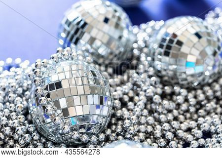 Sparkling Disco Ball In A Day Light. Concept Of Party.