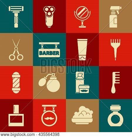 Set Aftershave, Hairbrush, Round Makeup Mirror, Barbershop, Scissors Hairdresser, Shaving Razor And
