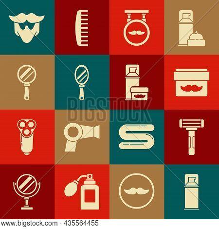 Set Shaving Gel Foam, Razor, Cream Lotion Cosmetic Jar, Barbershop, Hand Mirror, Mustache Beard And