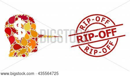 Financial Liar Mosaic Icon Done For Fall Season, And Rip-off Grunge Stamp Imitation. Vector Financia