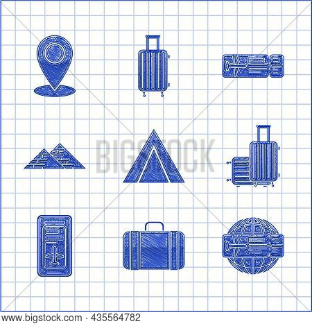 Set Tourist Tent, Suitcase For Travel, Airline Ticket, Smartphone With Electronic Boarding Pass Airl
