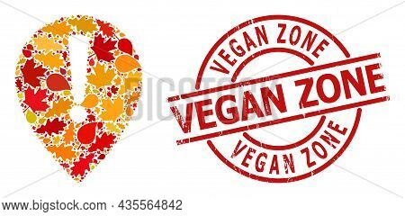 Notice Map Pointer Mosaic Icon Created For Fall Season, And Vegan Zone Scratched Stamp Print. Vector