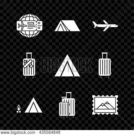 Set Airline Ticket, Tourist Tent, Plane, With Wood Fire, Suitcase For Travel, Postal Stamp And Mount