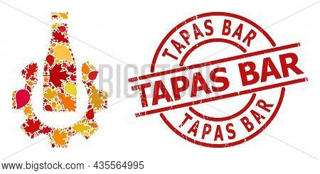 Beer Industry Mosaic Icon Combined For Fall Season, And Tapas Bar Unclean Seal. Vector Beer Industry