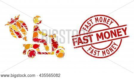 Opium Motorbike Delivery Mosaic Icon Constructed For Fall Season, And Fast Money Unclean Seal. Vecto