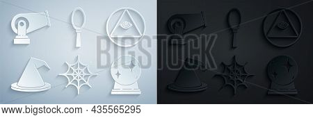 Set Spider Web, Masons, Witch Hat, Magic Ball, Hand Mirror And Cannon Icon. Vector