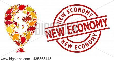 Financial Inflation Balloon Mosaic Icon Organized For Fall Season, And New Economy Textured Watermar