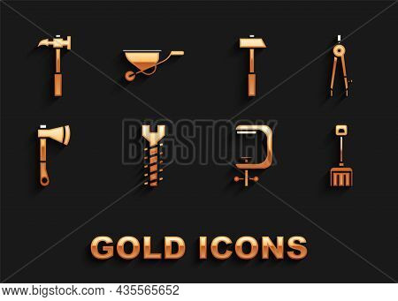 Set Metallic Screw, Drawing Compass, Snow Shovel, Clamp And Tool, Wooden Axe, Hammer, Claw Hammer An