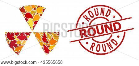 Circle Sectors Mosaic Icon Combined For Fall Season, And Round Rubber Stamp Print. Vector Circle Sec