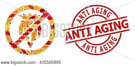 Forbid Opium Poppy Mosaic Icon Designed For Fall Season, And Anti Aging Unclean Stamp. Vector Forbid