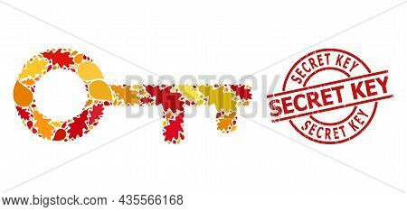 Key Collage Icon Constructed For Fall Season, And Secret Key Rubber Stamp Seal. Vector Key Mosaic Is
