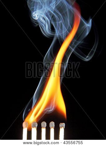 Match With Fire And Smoke.