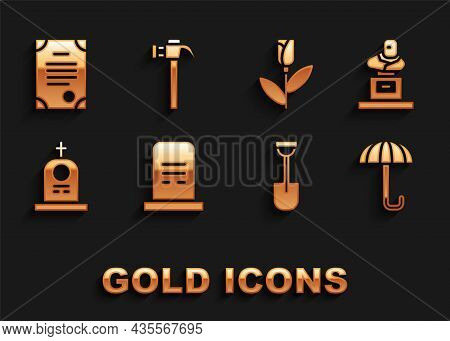 Set Grave With Tombstone, Umbrella, Shovel, Flower Rose, Death Certificate And Hammer Icon. Vector