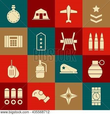 Set Dynamite And Timer Clock, Hand Grenade, Bullet, Jet Fighter, Military Rank, Bomb, Canteen Water