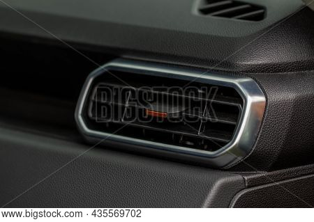 Car Air Conditioning Close Up View. The Air Conditioner Flow Inside The Car. Detail Interior Of Car.