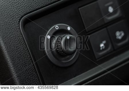 Side Mirrors Control Panel On Side Door. Car Driver Adjust Side Mirror Controller. Side Mirror Contr