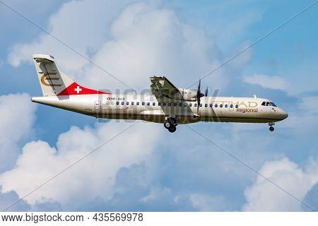 Amsterdam, Netherlands - August 15, 2014: Etihad Airways Passenger Plane At Airport. Schedule Flight
