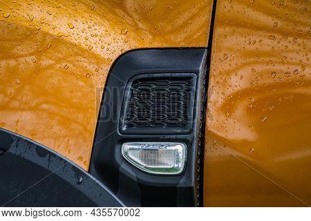 Modern Suv Turn Signal. Car Turn Signal Close Up. Close Up Of The Left Turn Signal.