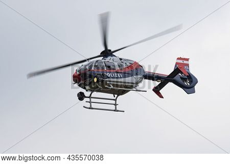 Vienna, Austria - July 22, 2016: Austrian Government Police Helicopter At Airport And Airfield. Roto