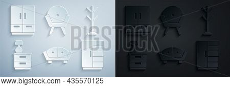 Set Sofa, Coat Stand, Furniture Nightstand With Lamp, Wardrobe, Armchair And Icon. Vector