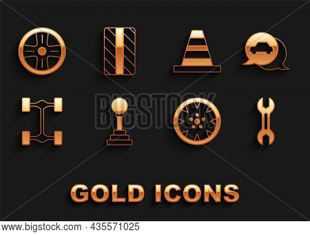 Set Gear Shifter, Car Service, Wrench Spanner, Alloy Wheel, Chassis Car, Traffic Cone, And Tire Icon