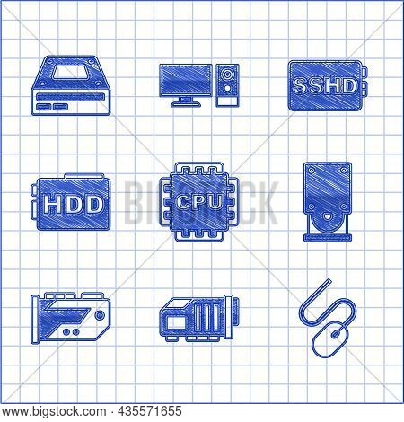 Set Processor With Cpu, Video Graphic Card, Computer Mouse, Optical Disc Drive, Hard Disk Hdd, Sshd