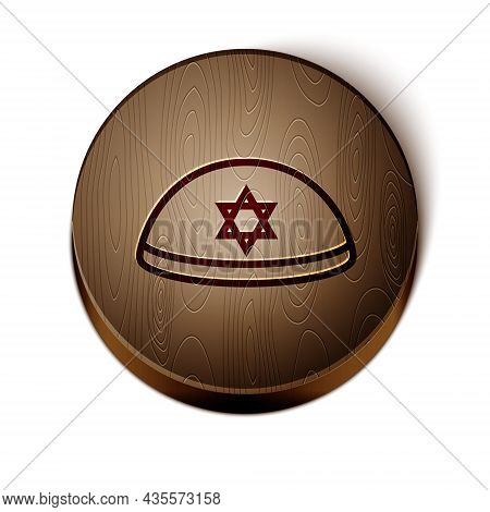 Brown Line Jewish Kippah With Star Of David Icon Isolated On White Background. Jewish Yarmulke Hat.