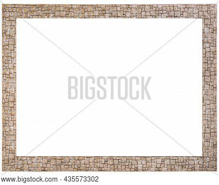 Golden Mockup Canvas Frame Isolated On White Background