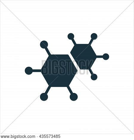 Structure Network Molecular Silhouette Icon. Atom Connect Structure Glyph Pictogram. Shape Molecule