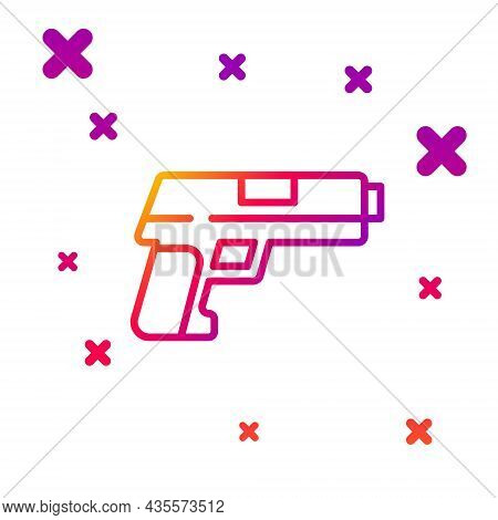 Color Line Pistol Or Gun Icon Isolated On White Background. Police Or Military Handgun. Small Firear