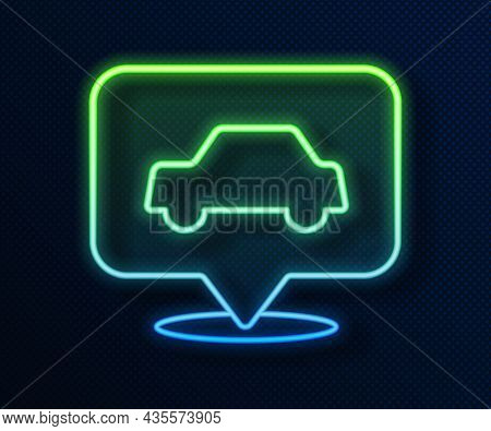 Glowing Neon Line Car Service Icon Isolated On Blue Background. Auto Mechanic Service. Repair Servic