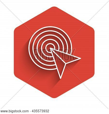 White Line Target Financial Goal Concept Icon Isolated With Long Shadow. Symbolic Goals Achievement,