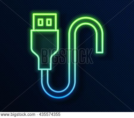 Glowing Neon Line Usb Cable Cord Icon Isolated On Blue Background. Connectors And Sockets For Pc And