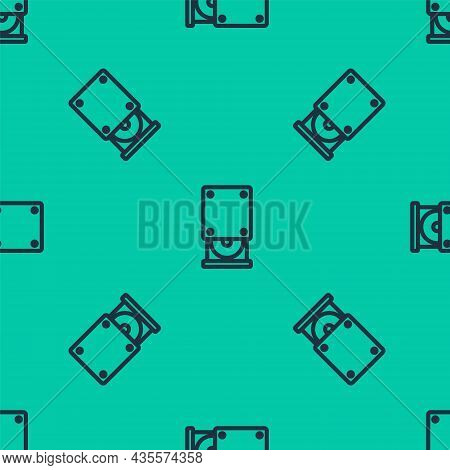Blue Line Optical Disc Drive Icon Isolated Seamless Pattern On Green Background. Cd Dvd Laptop Tray