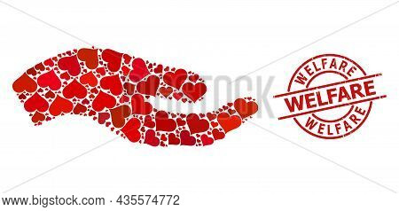 Scratched Welfare Stamp, And Red Love Heart Mosaic For Asking Hand. Red Round Stamp Seal Has Welfare
